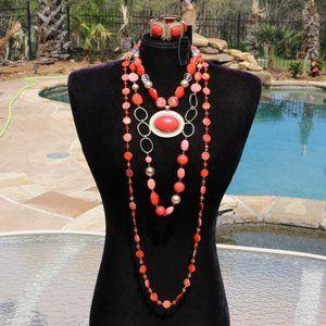 Necklace Coral Boho 4 Piece Statement Set Bracelet